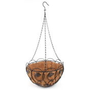 Panacea Products Scroll and Ivy 36cm Hanging Basket, Black with Brushed Bronze Leaves
