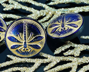 Handmade Czech Glass Buttons Small Dragonfly Shiny Dark Purple Blue Matte Gold Size 8, 18mm 1pc
