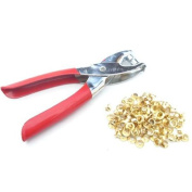 """100pc 5/32"""" 4mm Brass Eyelets and Setting Pliers Kit - Shoes Belts Bags Leather"""
