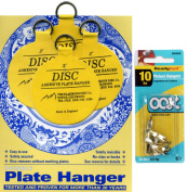 Flatirons Disc Set of Four 7.6cm Adhesive Plate Hangers and OOK Readynail 4.5kg. Picture Hooks (6 Hooks in Package) - Bundle of 2 Items
