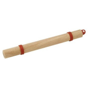 Bull Outdoor Products Wood Rolling Pin with Silicone Dough Rings