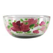 Pink Peony Floral Hand Painted Glass Serving Bowl 28cm