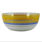 Orange Retro Stripe Hand Painted Glass Serving Bowl 28cm