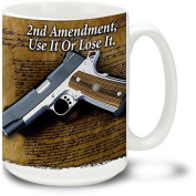 Cuppa 440ml Coffee Mug with 2nd Amendment Document and M1911
