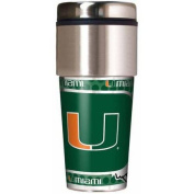 NCAA Miami 470ml Travel Tumbler with Metallic Wrap