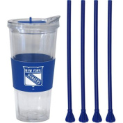650ml NHL New York Rangers Straw Tumbler with 4 Coloured Replacement Propeller Straws