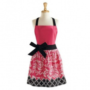 70cm Jet Black and Paradise Pink Women's Floral Kitchen Apron