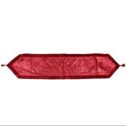 41cm x 180cm Red Glitter Swirl Christmas Table Runner with Velveteen Trim