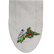 90cm Hand Crafted Embroidered Chickadee and Cherries Silk Polyester Table Runner