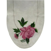 90cm Hand Crafted Embroidered Pink Peony Flower Silk Polyester Table Runner