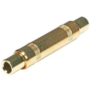 Metal 6.35mm (1/4Inch) TRS Female to 6.35mm (1/4Inch) TRS Female Coupler - Gold Plated