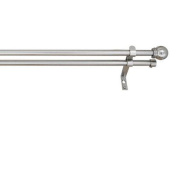 Versailles Home Fashions Double Curtain Rod Set in Pewter