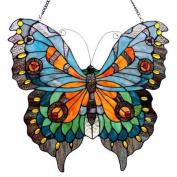 PAPILIO, Tiffany-glass Butterfly Window Panel 21x20