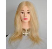 BHD 46cm - 70cm 100% Human Hair Training Practise Head Styling Dye Cutting Mannequin Manikin Head Blonde Colour