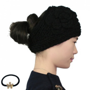 kilofly Crochet 3D Rose Winter Knit Headband, with Faux Pearl Flower Hair Band