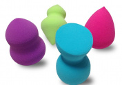 DRQ Cosmetic Makeup Blender Sponges - 4pc Set-NEW Beauty Latex Free Makeup Blender Sponge Foundation Applicator Multi Shape Sponges