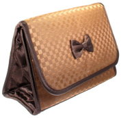 Cosmetic Bag with a Mirror, Large Size, Satin Small Chequered Brown