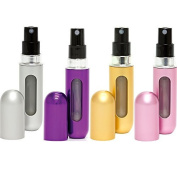 Travalo Classic Refillable Travel Perfume Bottle Atomizers, Silver/Purple/Gold/Perfect Pink, 4 Pack