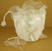 Wedding Bridal Shower Makeup Cosmetic Satin Purse Bag w/ Organza Bow