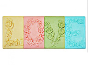 Longzang 4 Cavity Love Flowers Mould S360 Craft Art Silicone Soap Mould Craft Moulds DIY Handmade Candle Moulds