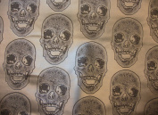 Vinyl Faux Leather BIG Skull Black on Shinny Silver Vinyl Textured Faux Leather Great for Car, Motorcycle, Indoor Outdoor Upholstery, Purses & Bags, Sold By the Yard, 140cm Wide