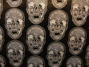 Vinyl Faux Leather BIG Skull Silver on Black Vinyl Textured Faux Leather Great for Car, Motorcycle, Indoor Outdoor Upholstery, Purses & Bags, Sold By the Yard, 140cm Wide
