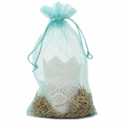 30 Organza Fabric Gift Bags Goody Pouches Party Gift Bags Aqua Polka Dot Medium 17cm By 30cm
