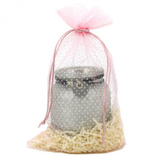 30 Textured Organza Fabric Gift Bags Goody Pouches Party Gift Bags Pink Polka Dot Medium 17cm By 30cm