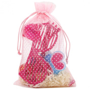 30 Organza Pink Polka Dot Gift Party Favour Fabric Birthday Treat Goody Bag 14cm By 23cm