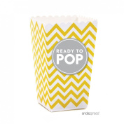 Andaz Press Ready to Pop Baby Shower Collection, Favours Kit with Mini Chevron Popcorn Boxes and Labels, Gender Neutral, Yellow with Grey, 24-Pack