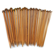 "Celine lin 18 sizes(32PCS) 13.5inch""(34CM)Carbonised Bamboo Single Pointed Knitting Needles"