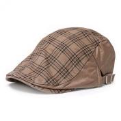 MMRM Classic Grids Design Unisex Solid Winter Flax Newsboy Cap Cabbie Golf Beret Hat