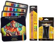 Prismacolor Premier Coloured Pencil and Accessory Set, Set of 72 Premier Coloured Pencils, One Premier Pencil Sharpener, and a 2-pack of Prismacolor Premier Colourless Blender Pencils