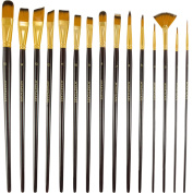 Paint Brush - Set of 15 Art Brushes for Watercolour, Acrylic & Oil Painting