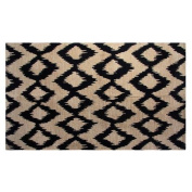 Jute and Cotton Printed 1.5m x 2.1m Area Rug, Navy Ikat