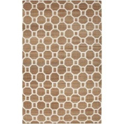 2.4m x 3m Destiny Rings Mocha Brown and Ivory Hand Woven Area Throw Rug