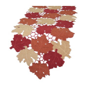 Xia Home Fashions Cutwork Leaves with Poly-Suede Table Runner