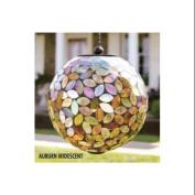 20cm Iridescent Auburn Leaf Glass Mosaic LED Solar Powered Hanging Orb Outdoor Garden Light