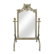 City Chic Gold Rectangular Vanity Mirror with Flower Accents 43cm