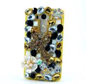LG G Stylo Case, Sense-TE Luxurious Crystal 3D Handmade Sparkle Diamond Rhinestone Cover with Retro Bowknot Anti Dust Plug - Cross Flowers / Gold & White