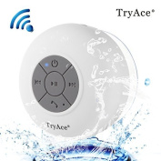 TryAce®Wireless Bluetooth Waterproof Shower Speaker Dedicated Suction Cup for Showers, Bathroom, Pool, Boat, Car White