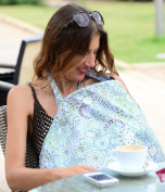 IntiMom Nursing Cover, Baby Breastfeeding Cover, Wide Hooter Hider Made of the Highest Quality Fabric, 100% Breathable Cotton with Unique Design and a Complementary Pouch - with Lifetime Guarantee