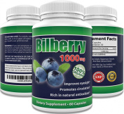 Best 100% Pure Bilberry Extract 1000mg | Improves Eyesight | Rich in Natural Antioxidants | Supports Connective Tissue Health 60 Concentrated Capsules Pills Natural Non GMO Premium Herbal Supplement