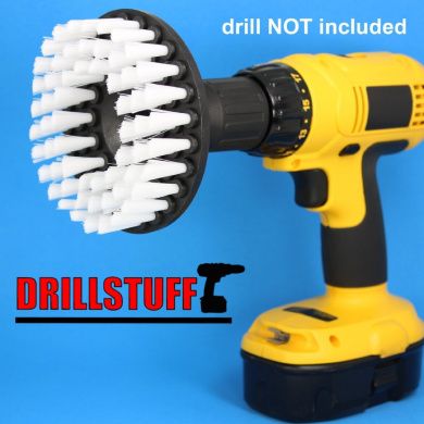 Softer Bristle Scrub Brush 13cm Round with Power Drill Attachment