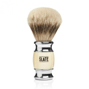 Silvertip Badger Shaving Brush by Slate Shave - 20mm Wide Knot - Faux Ivory Handle - Highest Quality Hair and Bristles for the Best in Wet Shaving