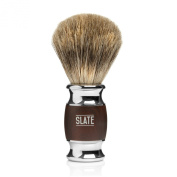 Pure Badger Shaving Brush by Slate Shave- 20m Wide Knot - Faux Rosewood Handle - High Quality Hair and Bristles for the Best in Wet Shaving