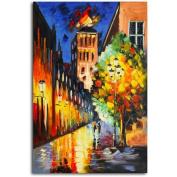 Omax Decor 'Lamp-Lit Night' Original Painting on Canvas
