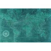 "Empire Art Direct ""Azure World Map"" Frameless Free Floating Tempered Glass Panel Graphic Art"