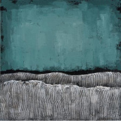 """Empire Art Direct """"Teal Atmosphere"""" Textured by Martin Edwards Original Painting"""