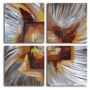 Four Square Steel Splash 4-Piece Aluminium Painted Wall Art Set